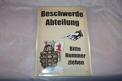 Beschwerdeabteilung - Handgranate Blechschild 20x30 cm Funschild Schild Sign