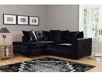 NEW ZELEN CRUSHED VELVET FABRIC CORNER SOFA SUITES IN BLACK SILVER COLOR