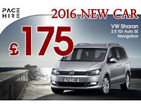 PACE Hire 2016 VW Sharan hire 7 seater / MERCEDES E Class rental - UBER ready - PCO hire rent