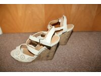 Ladies cream wedges, size 7