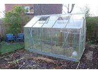 Aluminium Greenhouse 6ft x 10ft with metal base.