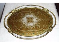 Modern Italian Sorrento Ware Oval Plastic Tray Painted Gold With Clear Laquer