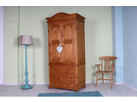 BEAUTIFUL TOP QUALITY WAXED SOLID PINE WARDROBE WITH 3 LARGE DRAWERS - CAN COURIER