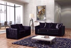 AMAZING DYLAN CRUSH VELVET CORNER / 3+2 SOFA SET AVAILABLE SILVER AND BLACK