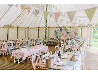 Wedding bunting double sided & matching napkins to hire