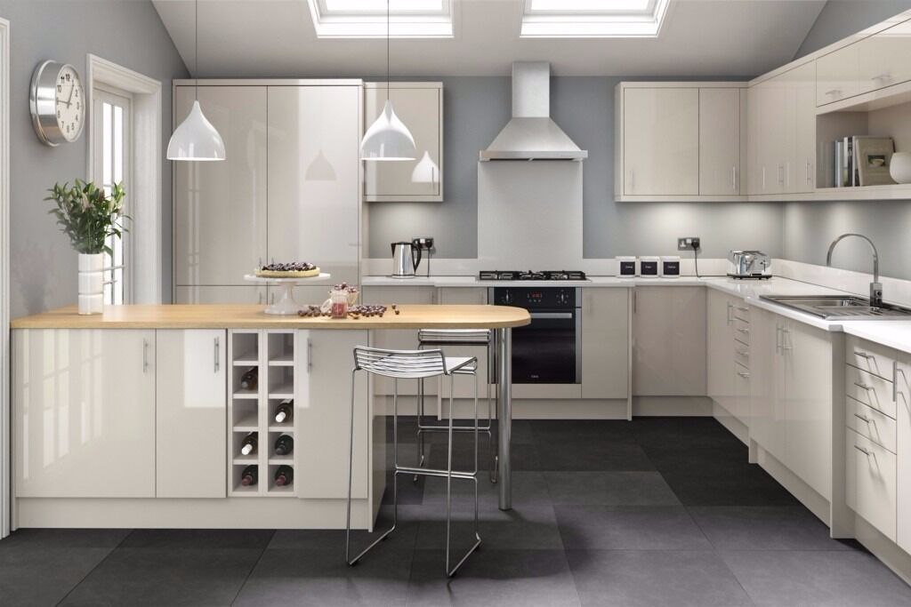 7 piece kitchen units warm grey gloss brand new in for Kitchen units grey gloss