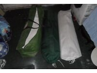gazebo x 3 red,green,plastic white 3x3m each,4 chairs 1 unbrella stand,pick up