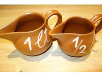 ***MURETTI STONEWARE*** Unusual pair of rustic, Muretti, stoneware kitchen measuring jugs