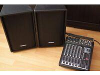 "Gear 4 Music AS1202BDC POWERED MIXER + SubZero S208 8"" Passive PA Speakers"