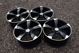 "18"" Audi TTRS Rotor Style Alloy Wheels Audi A3 TT 2nd Gen A4 Brand New Black Polished VW Golf Mk5"