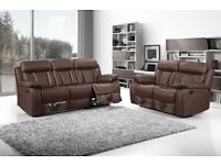 Vancouver Brown Recliner Cupholder 3+2 Sofa Set Free Mainland UK Delivery