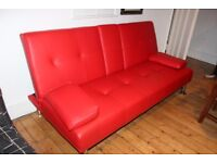 Manhattan Red Faux Leather 2 / 3 Seater Sofa Bed