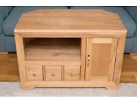 Oak Furniture Land Natural Solid Oak corner TV unit