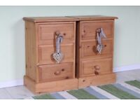 DELIVERY OPTIONS - 2 X BEDSIDE TABLES SOLID PINE 3 DRAWERS ALL TONGUE & GROOVE