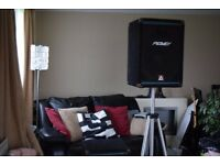 PEAVEY EUROSYS 3 TWO SPEAKERS WITH STAND CAN BE SEEN WORKING