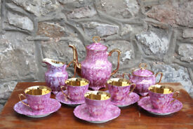 Vintage Pink Purple Tea Set Coffee Set Gilded Walbrzych Polish Porcelain Cup Saucer Jug Coffee Pot