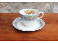 Unusual Vintage Tea Cup and Saucer - Grindley Exotic Fruit Design Coffee Cup Pineapple