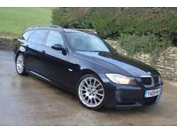 2008 BMW 320D Edition M Sport Touring, Sat Nav, Air Con, 174bhp, 89,750 miles, F.S.H