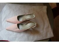 Jasper Conran Pink Satin Sling Back Shoes Size 5/38