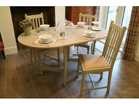 Shabby Chic Dining Table and 3 Chairs. Farmhouse Extendable Table and Three Chairs.