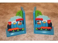 Bookends of steam train for children