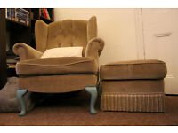 Lovely upcycled Queen Anne style armchair with footstool