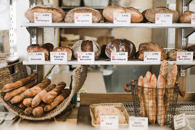 Loaves of Bread on Bakery Shelves Photo Art Print Poster 18x12 inch