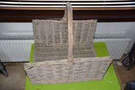 Driftwood Open Ended Rectangular Wicker Log Basket / Farm Shop Display
