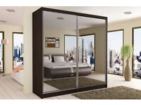 BUY - **- BRAND NEW - 203 CM WIDE GERMAN MADE FULLY MIRROR SLIDING DOOR WARDROBE + SAME DAY DELIVERY