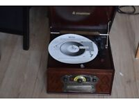 STEEPLETONE CD/RECORD PLAYER/CASSETTE/AUXIN PLAY IPOD PHONE MUSIC