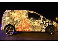 """VW Caddy, Campervan, Day van, Surf van, Rock n roll bed, 4 seats,transporter,Custom wrap, 19"""" alloys"""