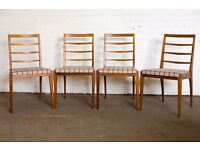 SET OF 4 VINTAGE SCANDINAVIAN DESIGN WOODEN DINING CHAIRS IN CHECKERED FABRIC