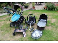 iCandy Peach Pushchair & Carrycot in Black Jack, Lascal Buggy Board & Maxicosi Cabriofix Car Seat
