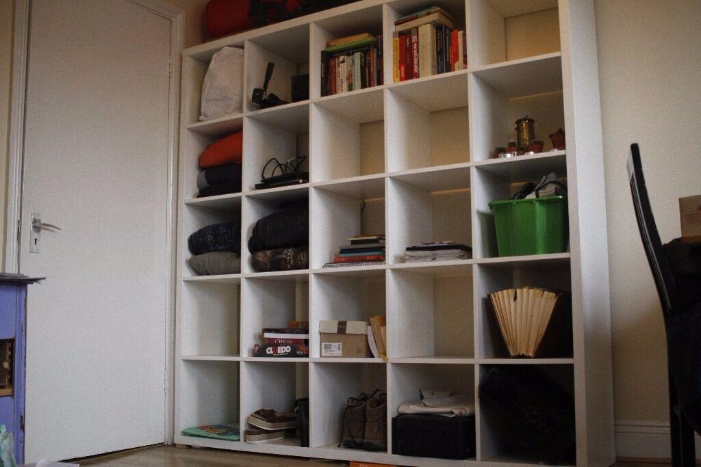 ikea white 39 kallax 39 shelving unit room divider 182x182 cm rrp 150 pounds in hackney. Black Bedroom Furniture Sets. Home Design Ideas