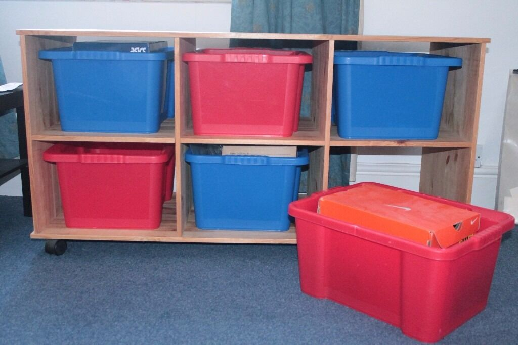 Argos Pine Storage Trolley With 6 Large Plastic Containers