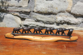 "Unusual Vintage 17"" 43cm Handcarved Wooden Ornament Elephants Elephant Wood Home Decor Figurine"