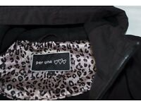 Per Una Ladies waterproof zipped Black Jacket with hood, fully lined.