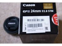 Canon 24mm f/2.8 STM EF-S Camera Lens with Box!