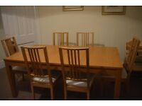 Extendable Dining table & Six chairs