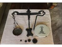 BROMLEY, KENT - Antique DAY and MILLWARD Weighing Scales - WROUGHT IRON & MARBLE. Inc. 4 weights