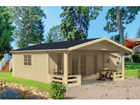 LOG CABIN WITH VERANDA AND SIDE STORE