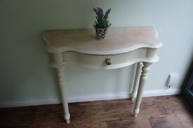 "Lovely, Curvy, Sold Pine Console Table (Farrow & Ball ""Lime White"")"