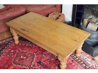 Large waxed pine coffee table.