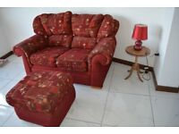 TWO Two seater Sofas and matching Footstool Burgundy red Patterned Fabric No Marks