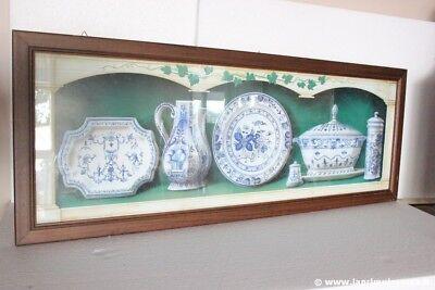 STAMPA VINTAGE ARTI GRAFICHE RICORDI 1996 CON CERAMICHE BIANCO E BLU L. cm 96