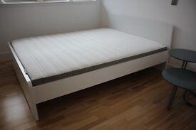 White IKEA Bed (Askvoll) + Mattress (Kingsize)