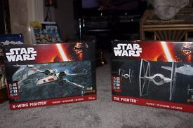 star wars x fighter and tie fighter model kits