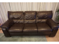 Comfy 3-seater leather sofa