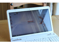 BACK TO SCHOOL WHITE TOSHIBA DUAL CORE LAPTOP HDMI 6GB DDR3 500GB HDD 3 HOUR BATTERY, NEW CHARGER