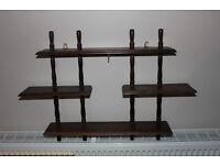 Vintage Wooden Pub Display Shelf. Turned ends. Home Bar Decoration Shelves Display